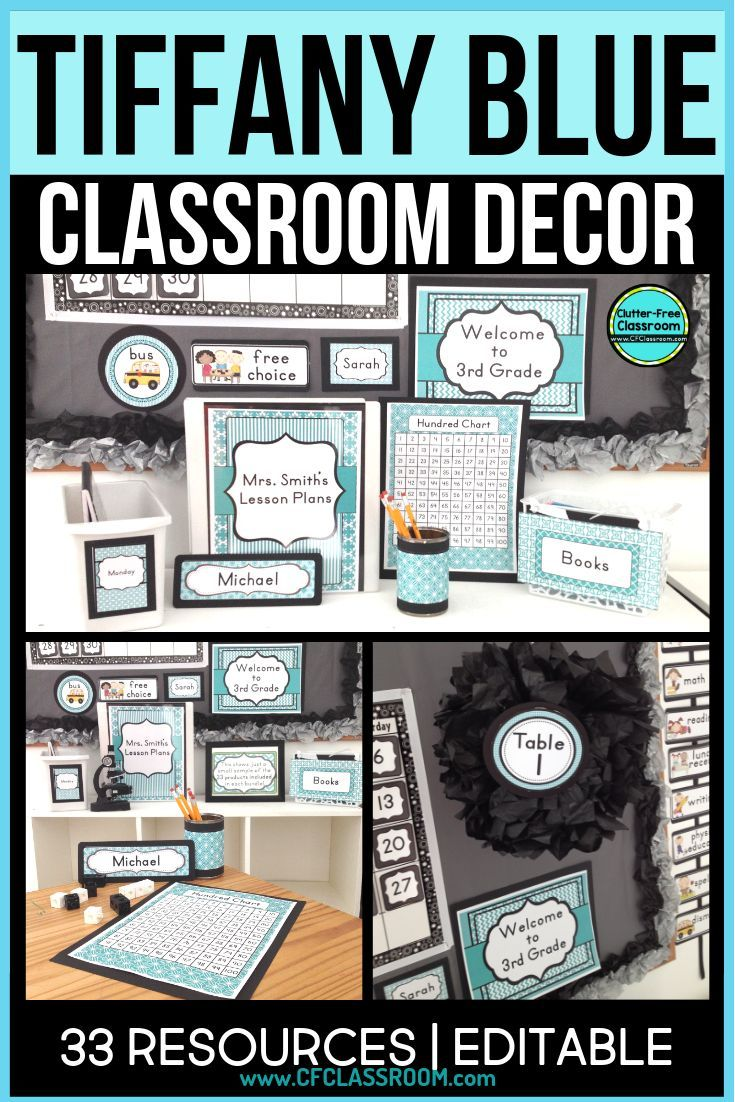 Tiffany blue classroom decor is a theme for teachers who want a bright and cheery classroom theme . It's simple yet bright.  This Clutter-Free Decor bundle is editable. The templates let you DIY custom decorations, bulletin boards, charts, nameplates, labels and more. It's possible to design an elementary classroom on a budget that looks great! #classroomdecor #elementaryclassroomdecor