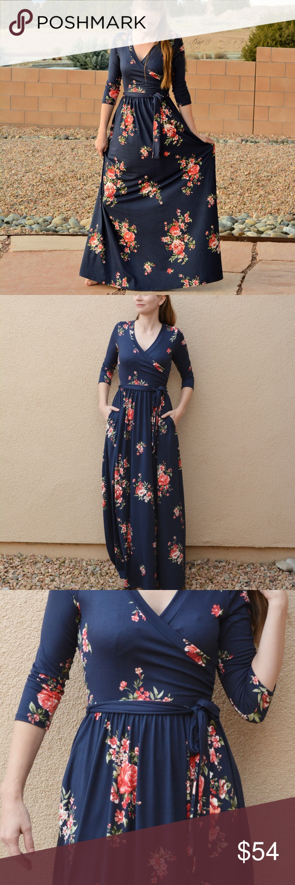 49738213c8c NWT Navy Blue Floral Maxi Dress Genuine Reborn J - not a cheap knockoff! New