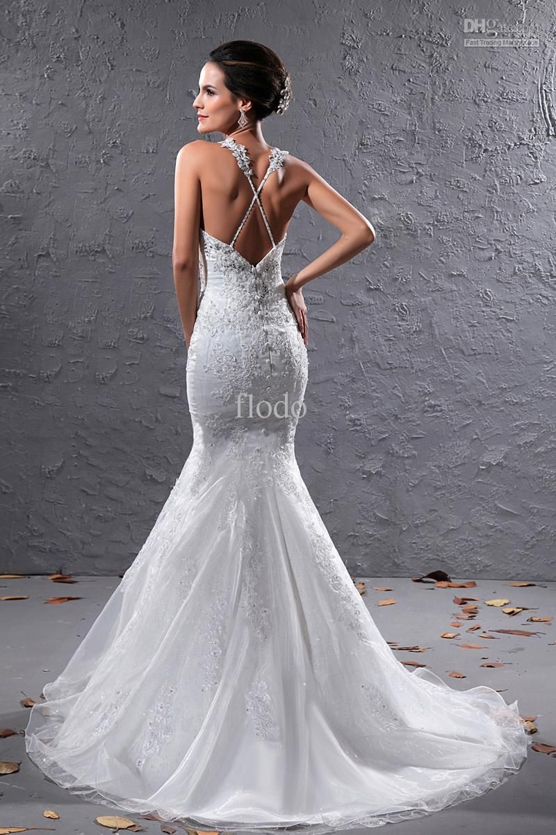 Vintage backless lace mermaid wedding dresses ivory organza criss