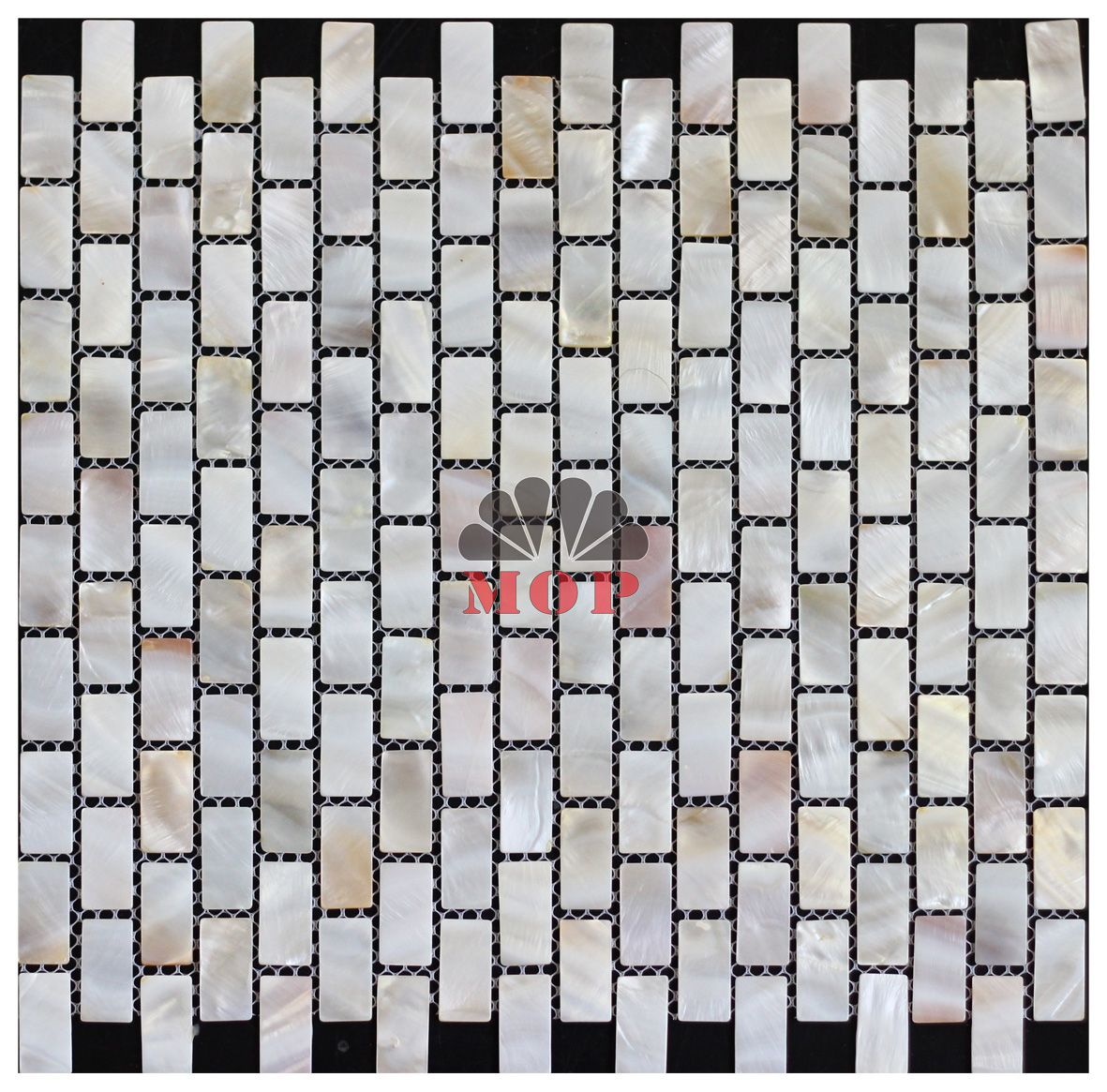 Rectangle Shell Mosaic Tile Mother Of Pearl Home Wall Decoration Mesh Backing With Gap 2mm Thick Shell Mosaic Pearl Tile Shell Mosaic Tile