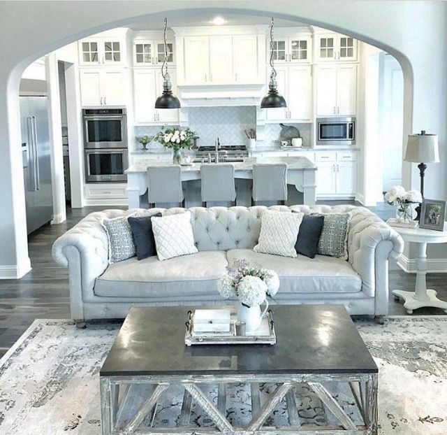 Open Layout Living Room In Sherwin Williams Repose Gray