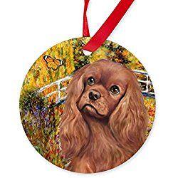 Christmas Festive Cavalier King Charles Spaniel with Teddy Ornament