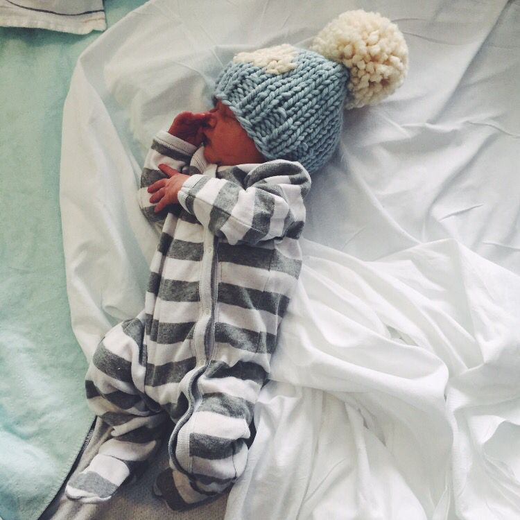 ae6cca64b35c newborn baby boy coming home outfit. Chunky knit pompom hat. striped sleeper