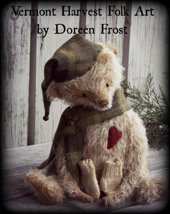 Olde Winter Washington ~ ©2000-2013 Doreen Frost  ~The Merry Moppet Shop~ - Vermont Harvest Folk Art by Doreen Frost  Mohair Teddy Bears, Vermont Folk Art, Vermont Teddy Bears, Antique style Mohair Bears