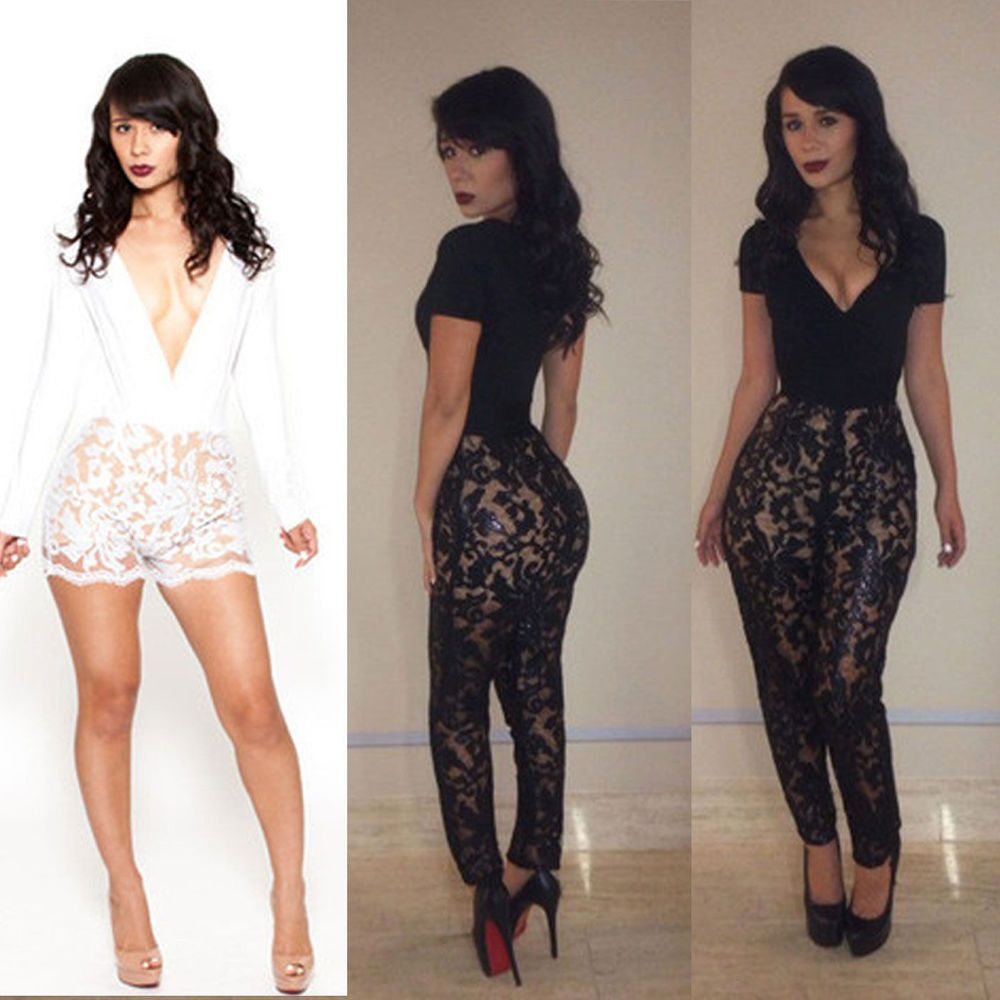 4f711b20f682 Sexy V Neck Floral Lace Stretch Bodycon Bandage Club Party Slim Jumpsuit  Romper