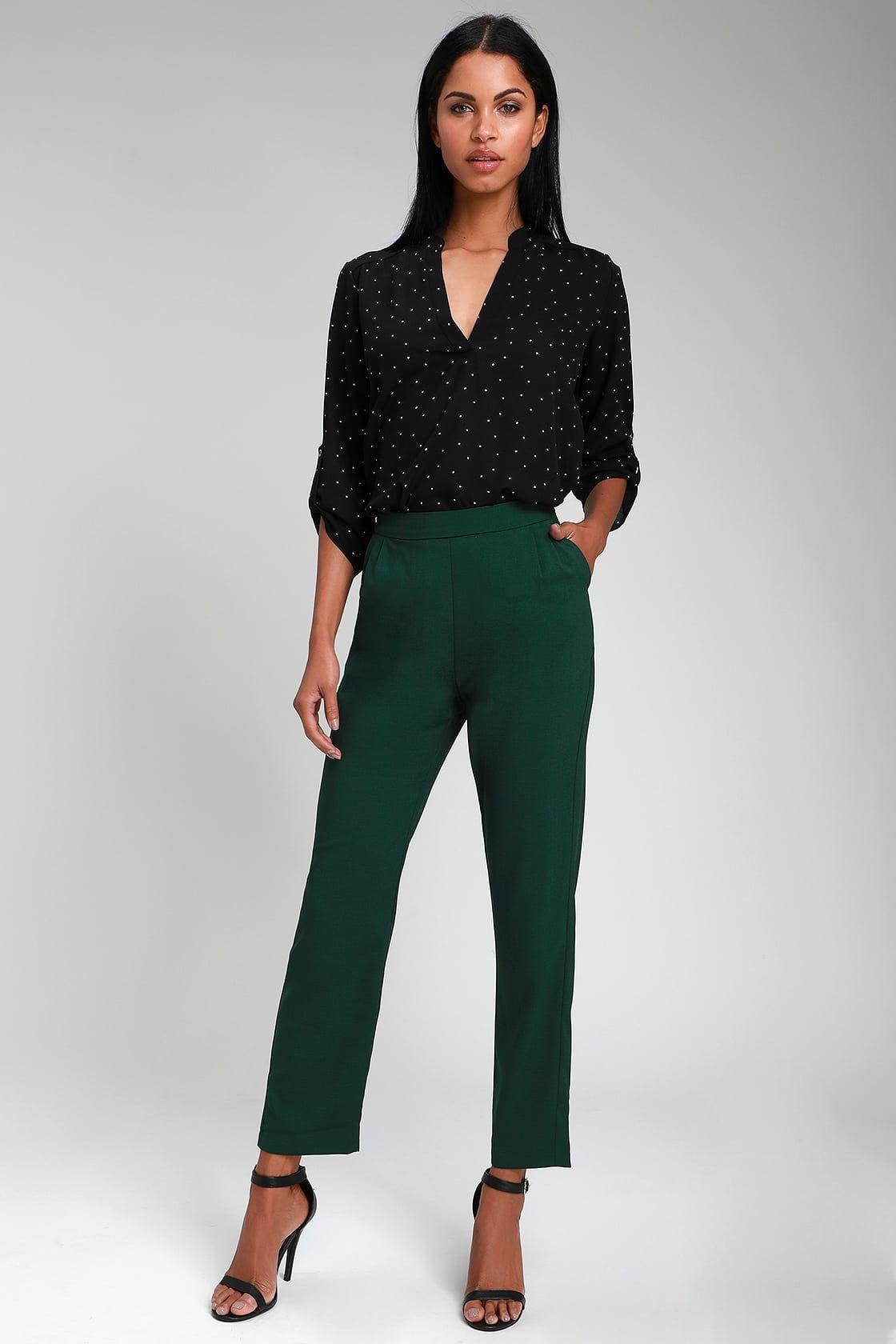 Kick It Forest Green High Waisted Trouser Pants Summer Work Outfits Green Dress Pants High Waisted Trouser Pants [ 1680 x 1120 Pixel ]