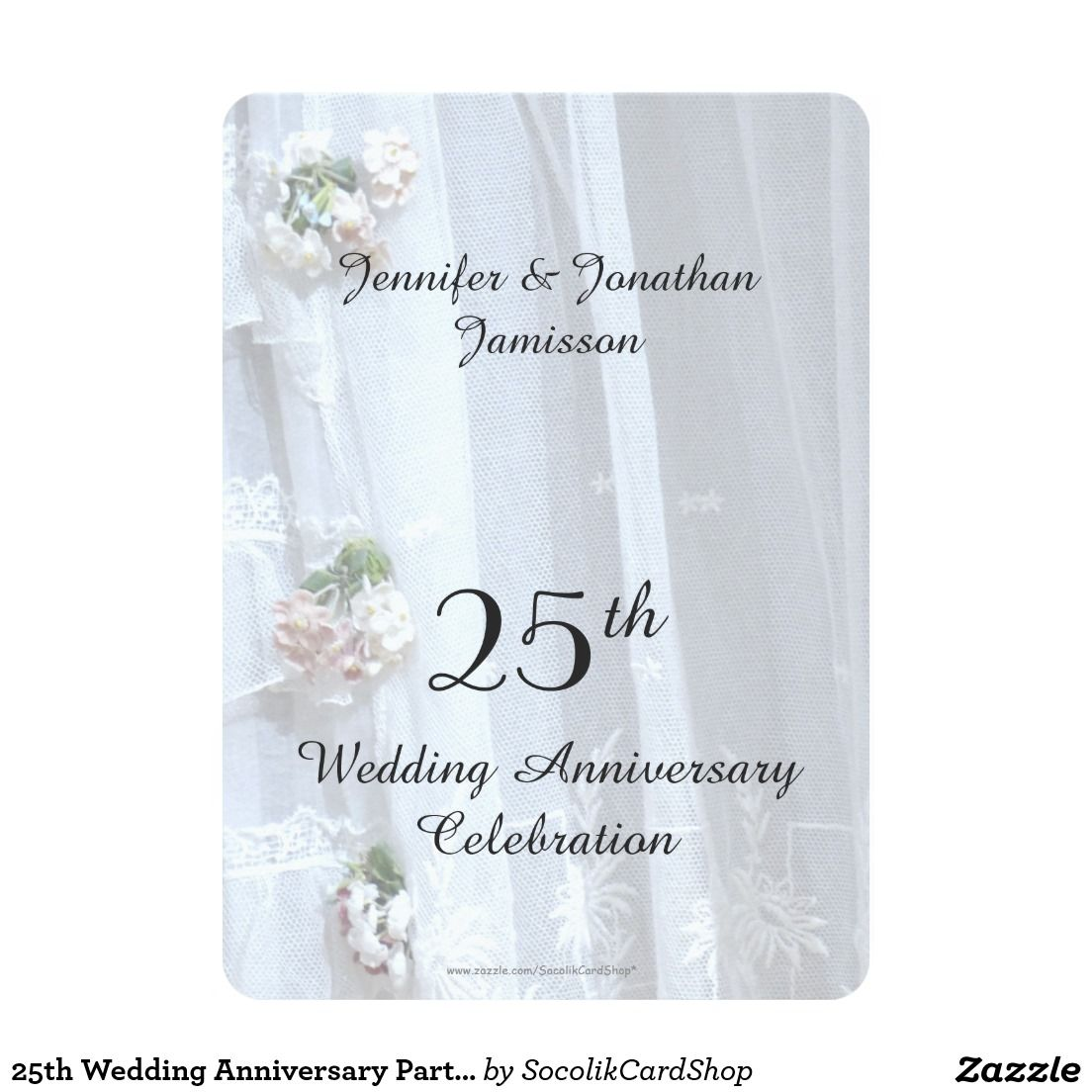 25th Wedding Anniversary Party, Vintage Lace 5x7 Paper Invitation ...