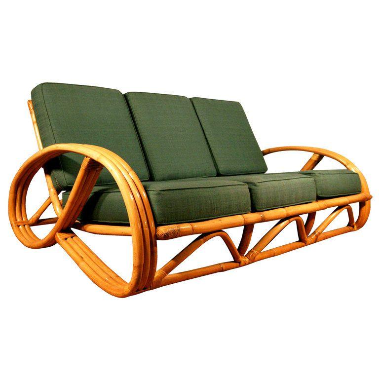 Paul Frankl Style Round Pretzel Arm Rattan Sofa By Vintage Rattan Furniture Rattan Sofa Bamboo Sofa