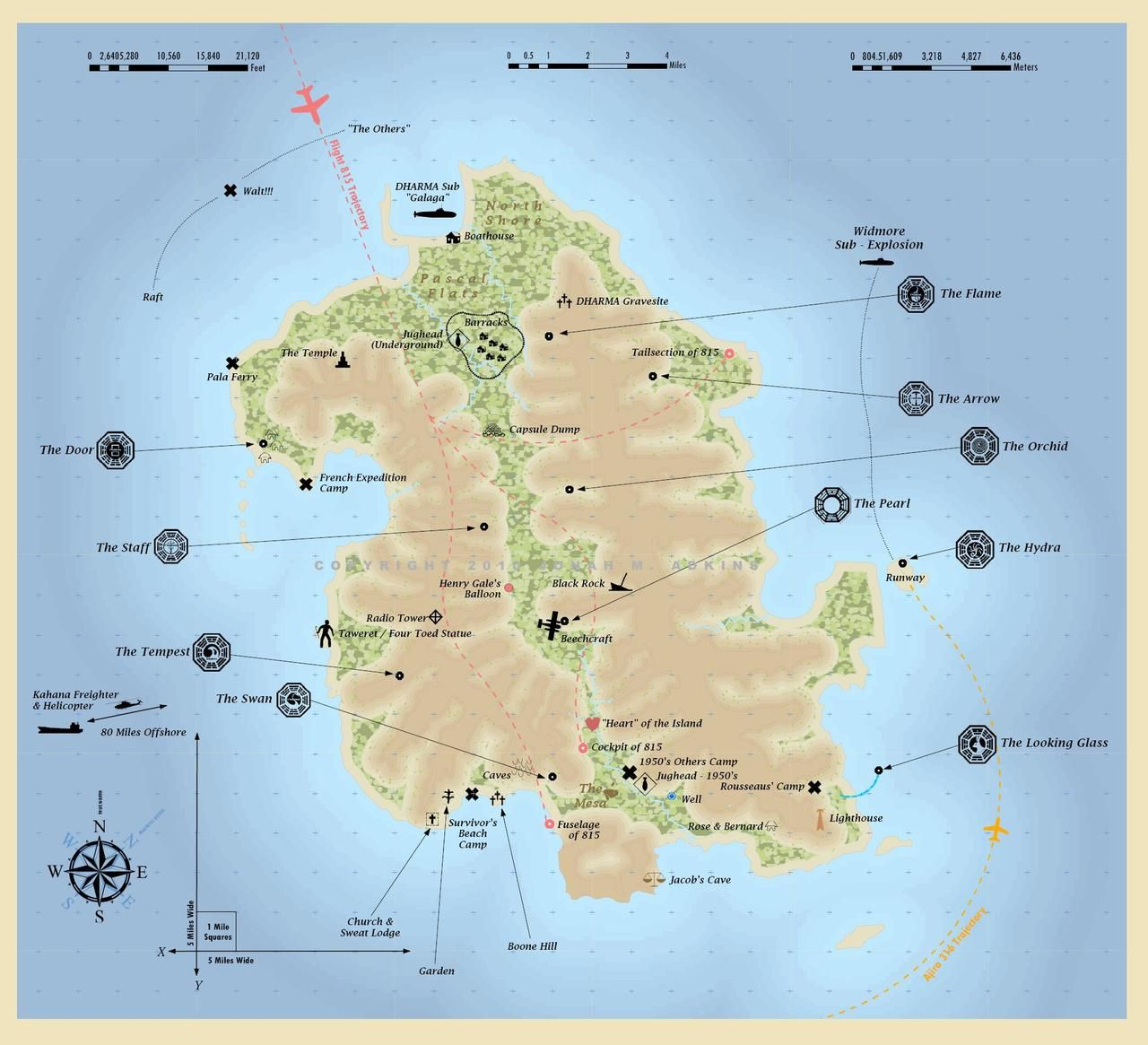 Cartographer Creates Full Map Of Lost Island Lost Tv Show Map Island Map