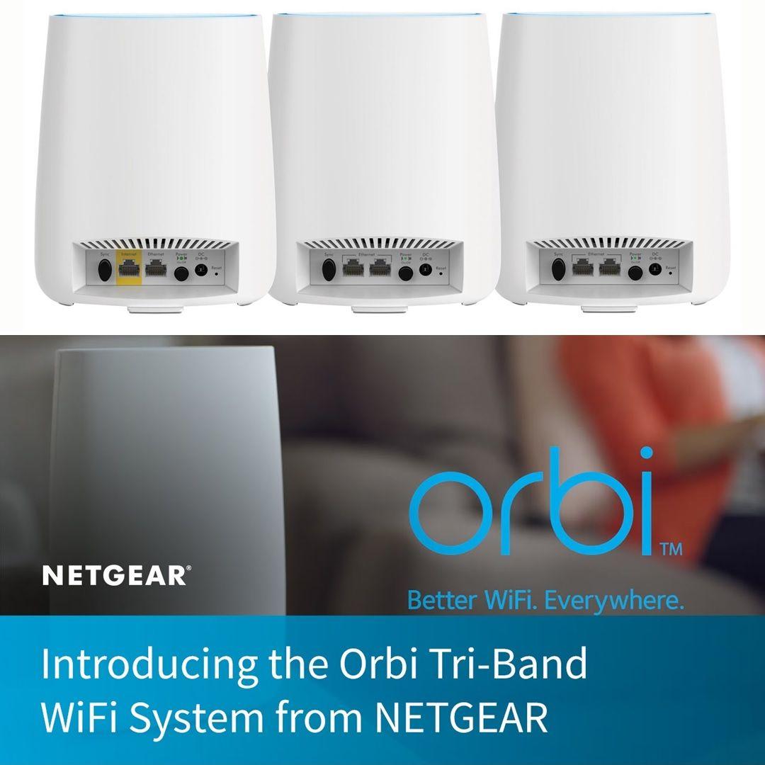 Netgear RBK23 Orbi WiFi System AC2200, 4,500 square feet, 2 Gigabit