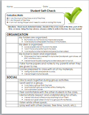Conferences are coming! {Student Self-Evaluations} | Classroom ...