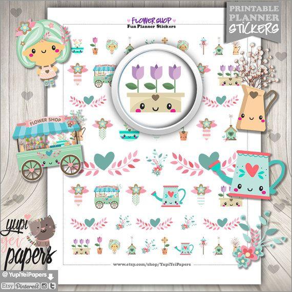 Flower Stickers, Planner Stickers, Spring Stickers, Gardening Stickers, Erin Condren, Kawaii Stickers, Garden Stickers, Planner Accessories