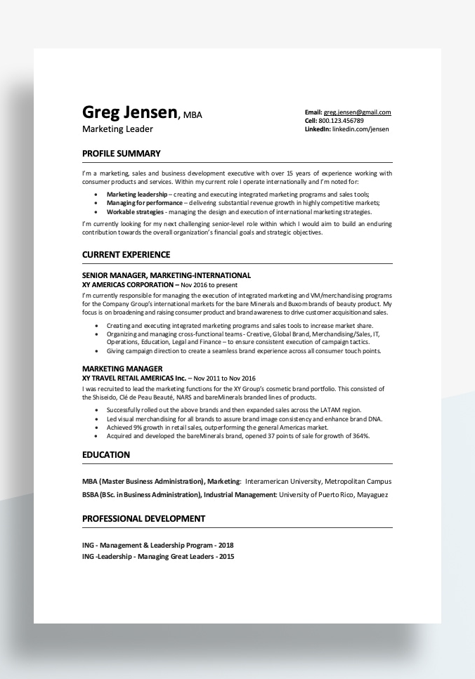 Resume Format Examples 2020