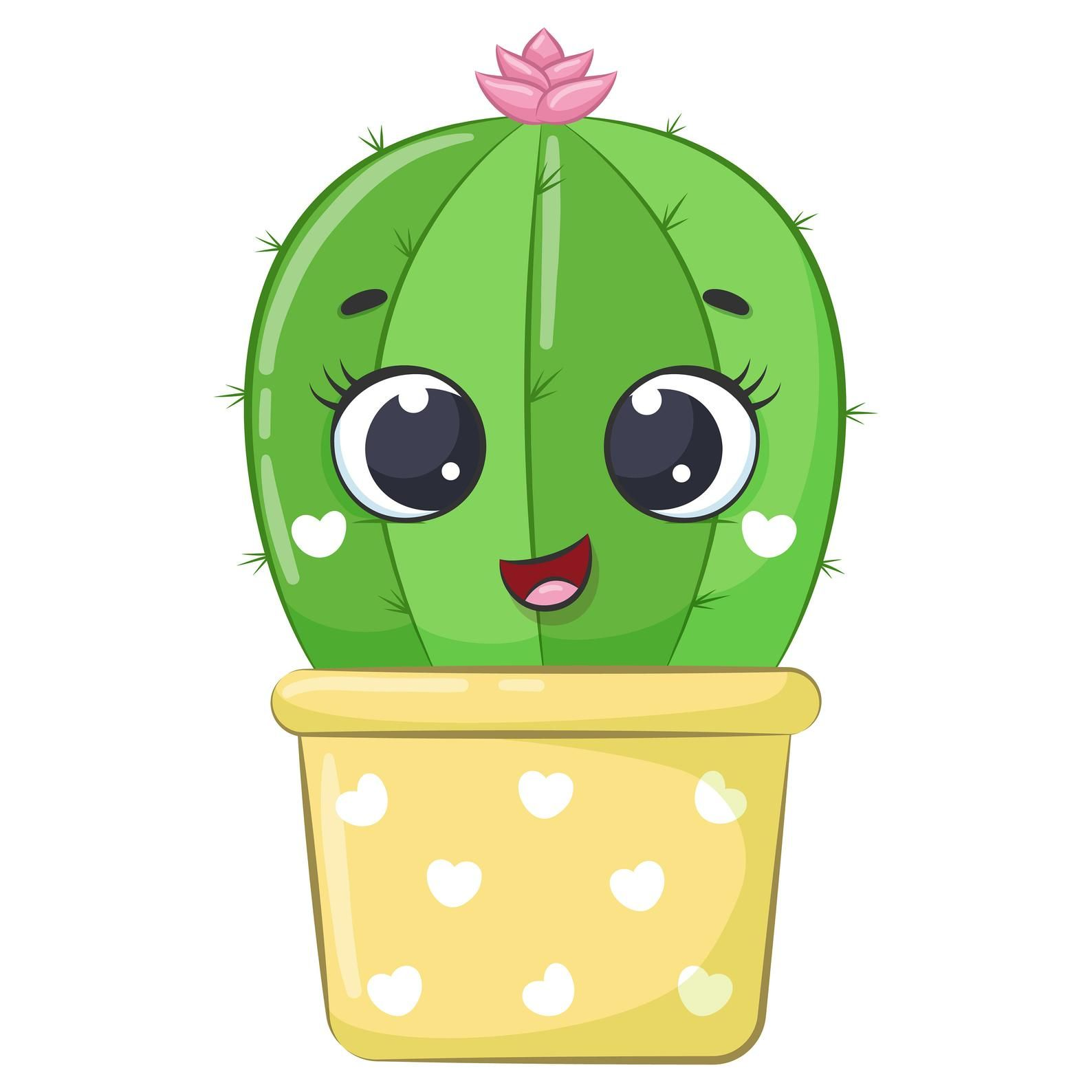 Cute Cactus Clipart Png Eps Jpeg Succulent Clipart Commersial Use In 2021 Cactus Clipart Diy Bag Painting Clip Art