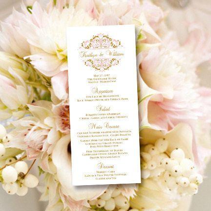 Printable Wedding Menu Template  - wedding menu template