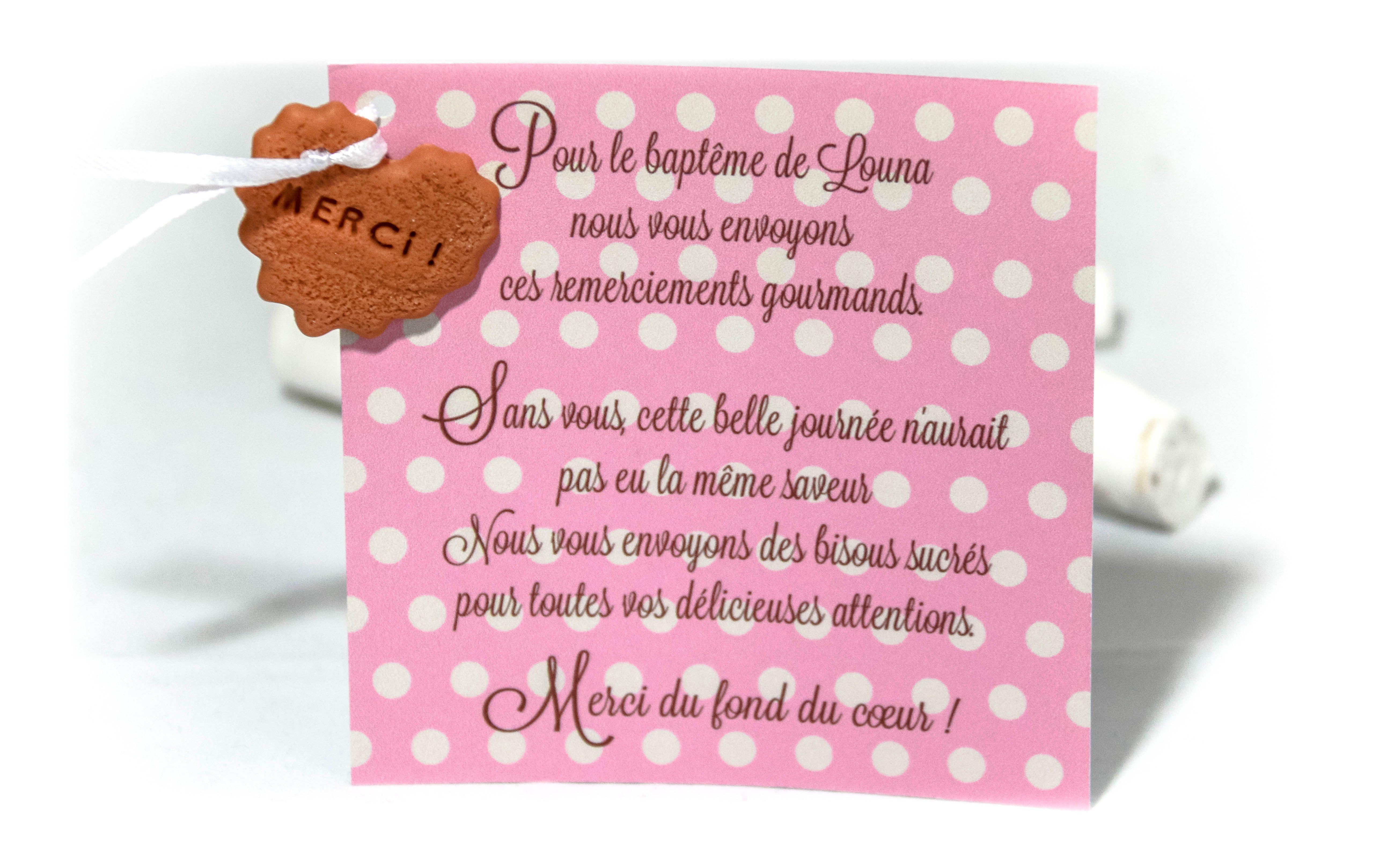 Faire-part biscuit personnalisé, remerciement fille rose à pois blanc  www.fabriquedemeline.com modèle déposé avril 2014, toute reproduction interdite