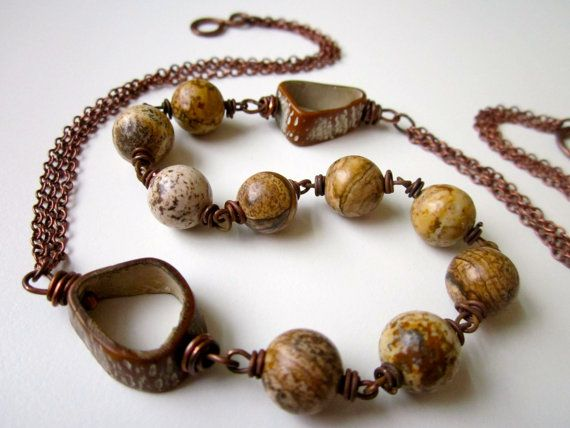 White Birch - dirty ivory and brown picture jasper stone rounds, primitive saging-saging tree seed pod rings, and antiqued copper necklace by LoveRoot, $26.00