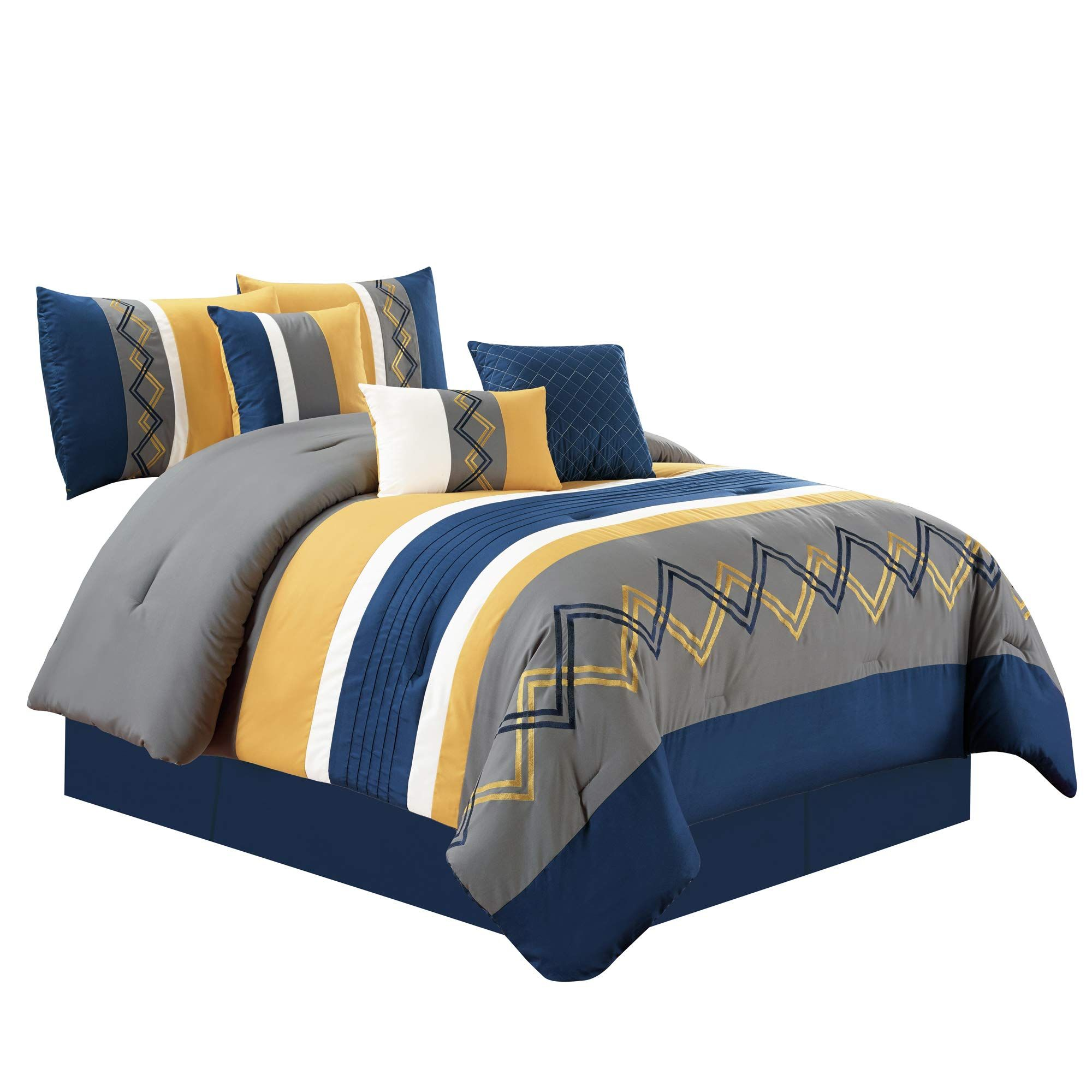 Chezmoi Collection Arden By 7 Pieces Modern Pleated Stripe