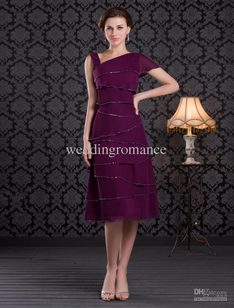 Short sleeve dresses for wedding guests  Grape Purple Mini Length MultiLayer Pattern Chiffon Mother of the