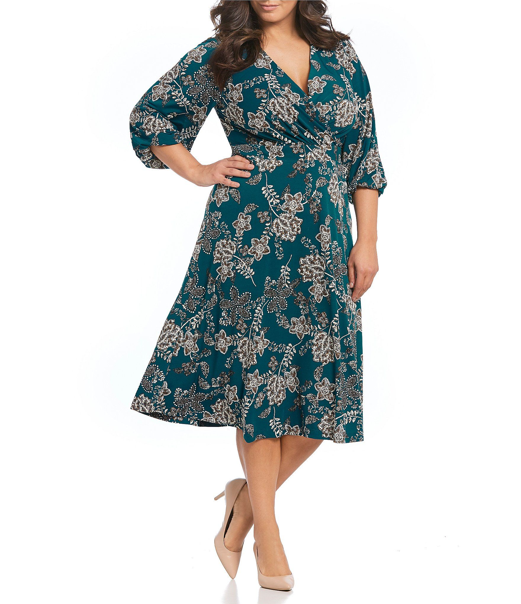 Jessica Howard Plus Size Floral Print Surplice Balloon ...