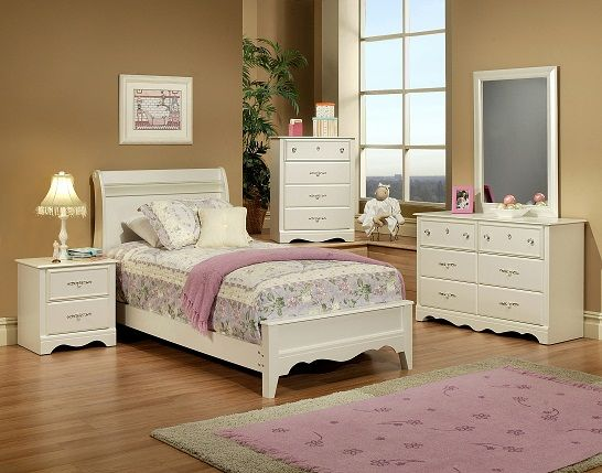 6 Piece Twin Bedroom Set Sleigh Pearl White With Crystal Knobs