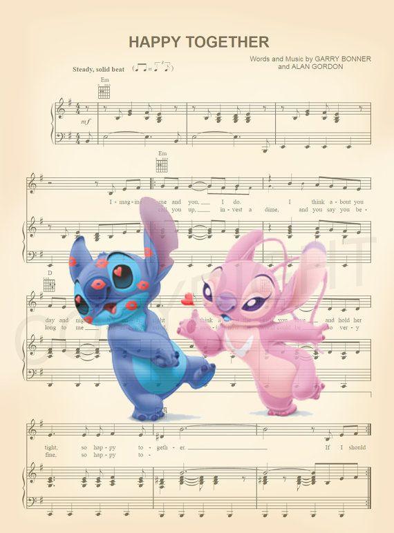 Aquí es una partitura arte de puntada y Angel de Lilo y Stitch de ...