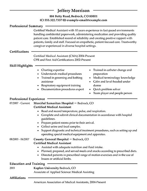Medical Assistant Resume Example Sample Resumes Livecareer