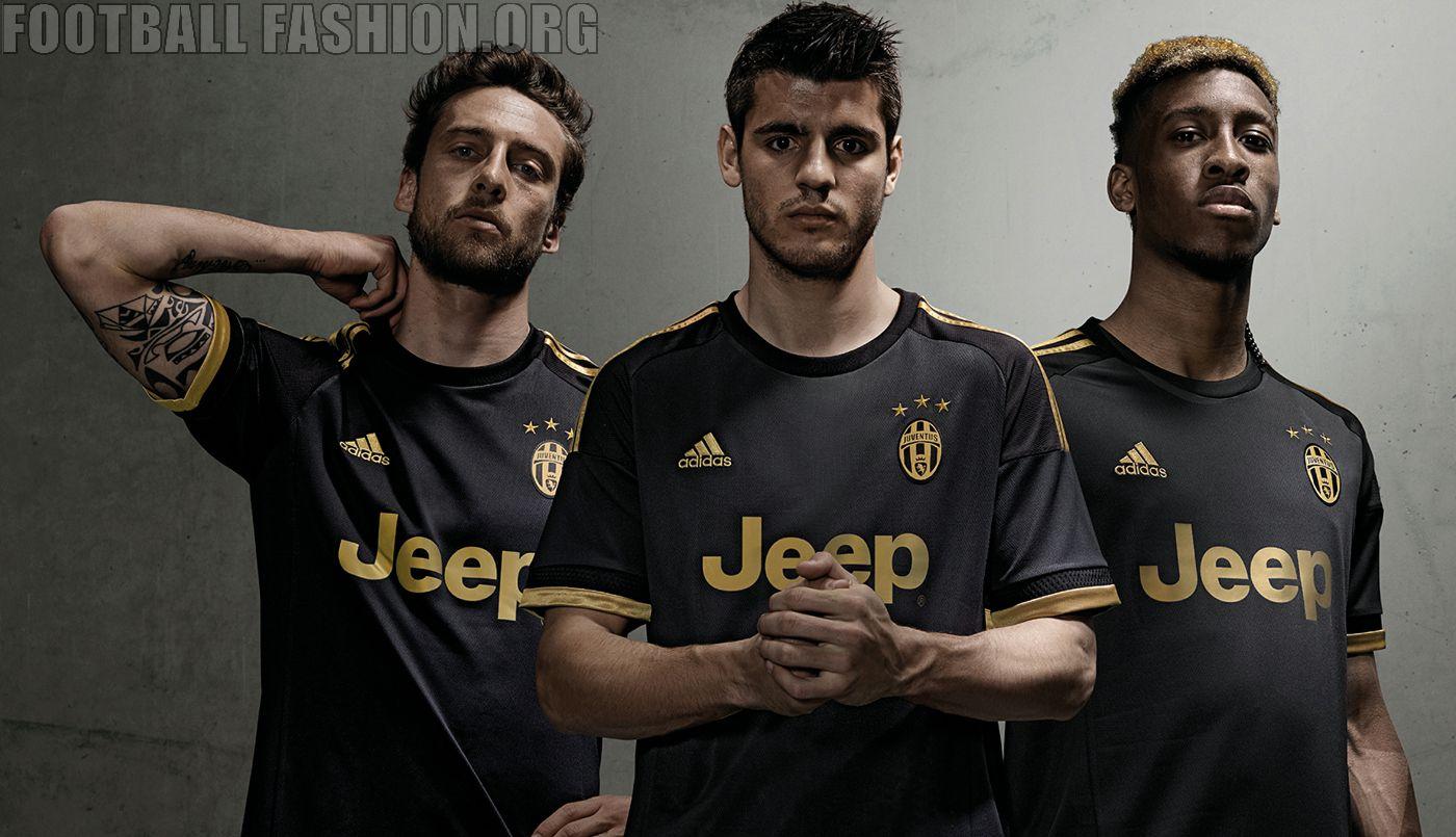 d3cc052fb74 Juventus 2015 2016 Black and Gold adidas Third Football Kit
