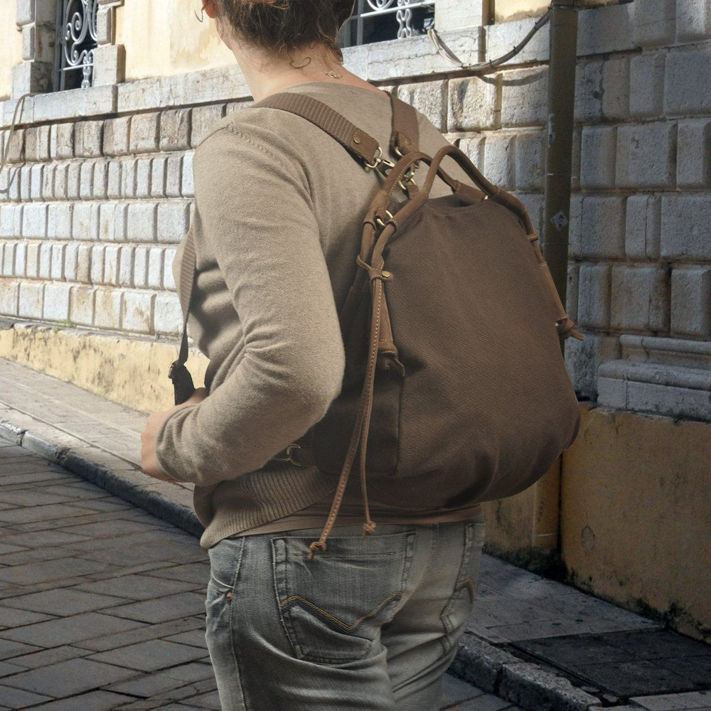 Backpack in  chocolate brown canvasleather   by iyiamihandbags, $129.00