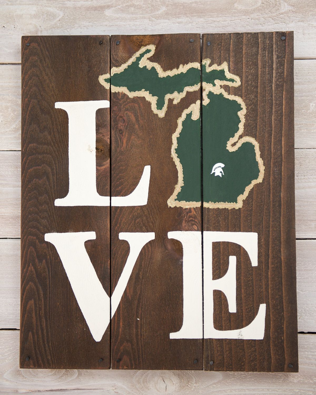 LOVE Michigan State Spartans Wooden Sign by LarissaJBeers on Etsy ...