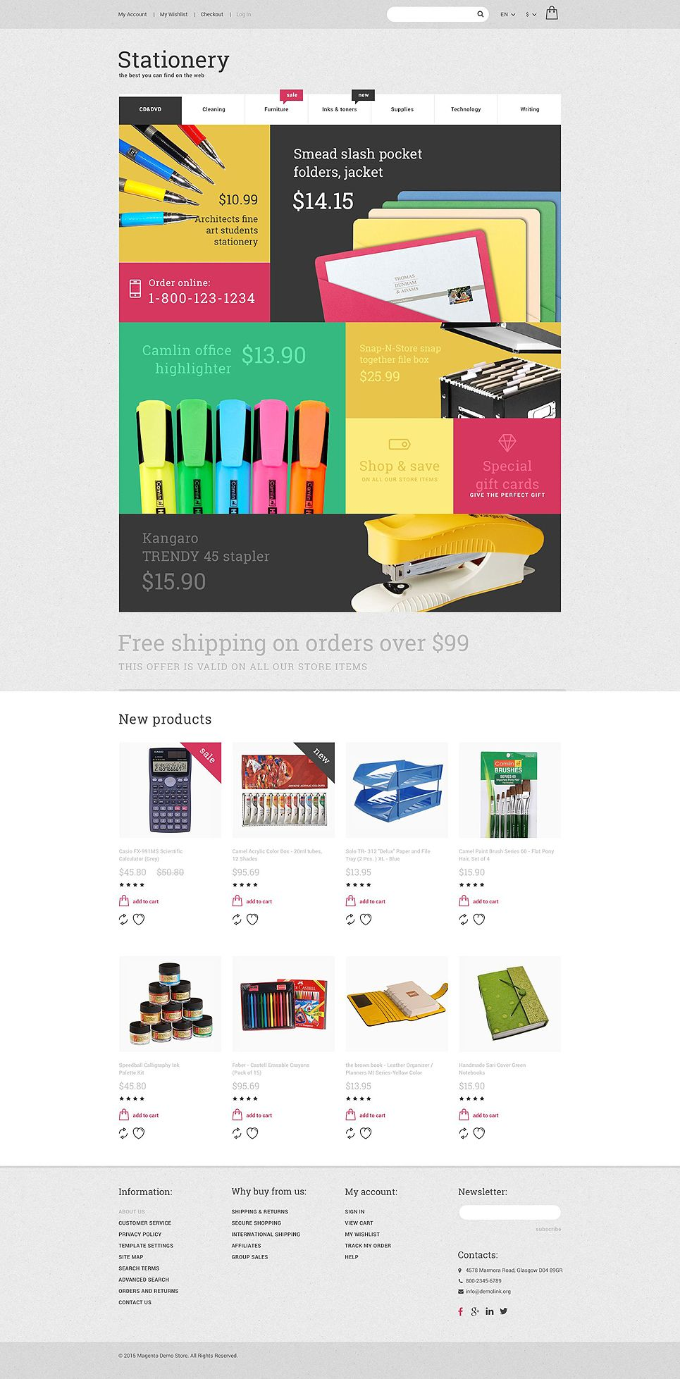 Stationery Store Magento Theme Opencart Templates Magento Themes Stationery Store