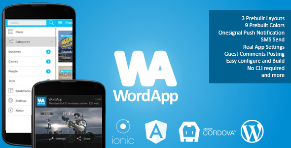 WordApp PhoneGapCordova WordPress Hybrid App Mobile App Templates - Phonegap templates
