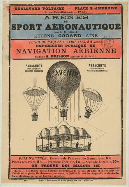 AZ26 Vintage 1885 Grande Fete Aerostatique Hot Air Balloon Poster A1//A2//A3//A4