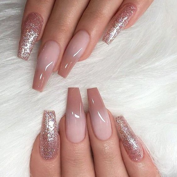 60 Gorgeous Glitter Acrylic Coffin Nails Designs Ombre Nail Designs Nail Art Ombre Coffin Nails Designs