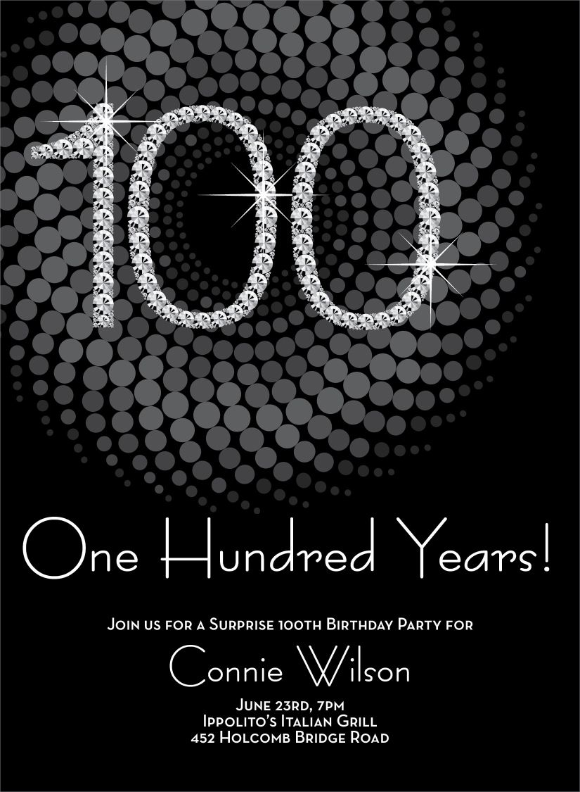 Diamond Numbers 100 Milestone Birthday Invitations 70th Birthday Invitations 100th Birthday Party