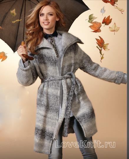 Спицами пальто с большим воротником на поясе фото к ...