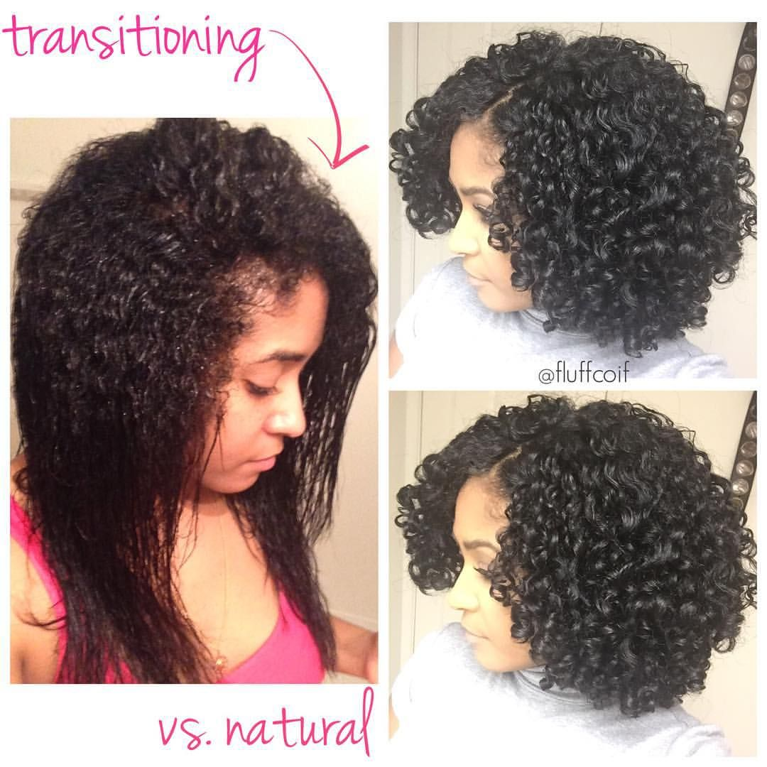 Transitioning Wash And Go Versus A Fully Natural Wash And Go What A Difference Just Natural Hair Transitioning Curly Hair Styles Curly Hair Styles Naturally