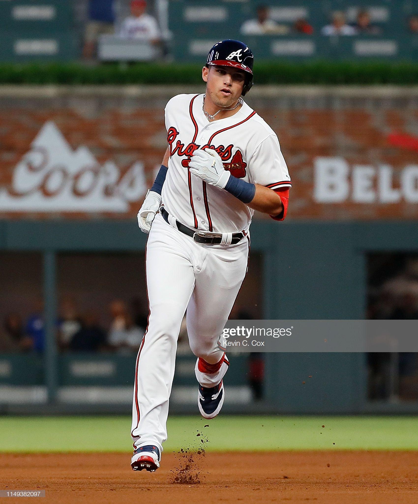 Austin Riley Of The Atlanta Braves Rounds Second Base After His First Atlanta Braves Braves Atlanta Braves Baby