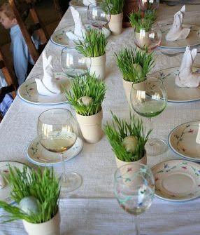 Grass egg holders on Easter table