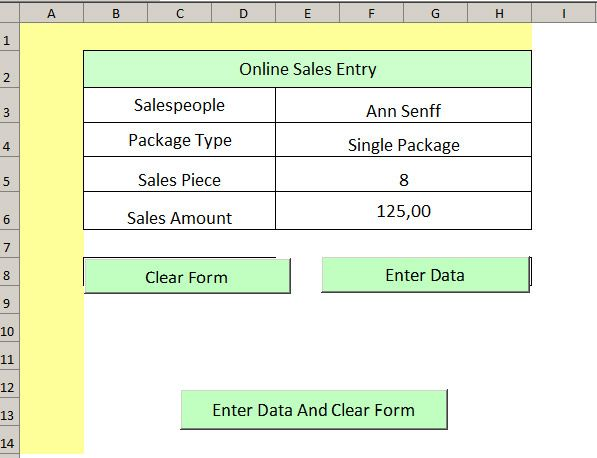 Sales Entry Form Data validation - contest form template