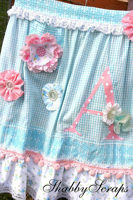close up of embellishment on apron made by Tiffany of shabbyscraps for altered apron swap, via Flickr