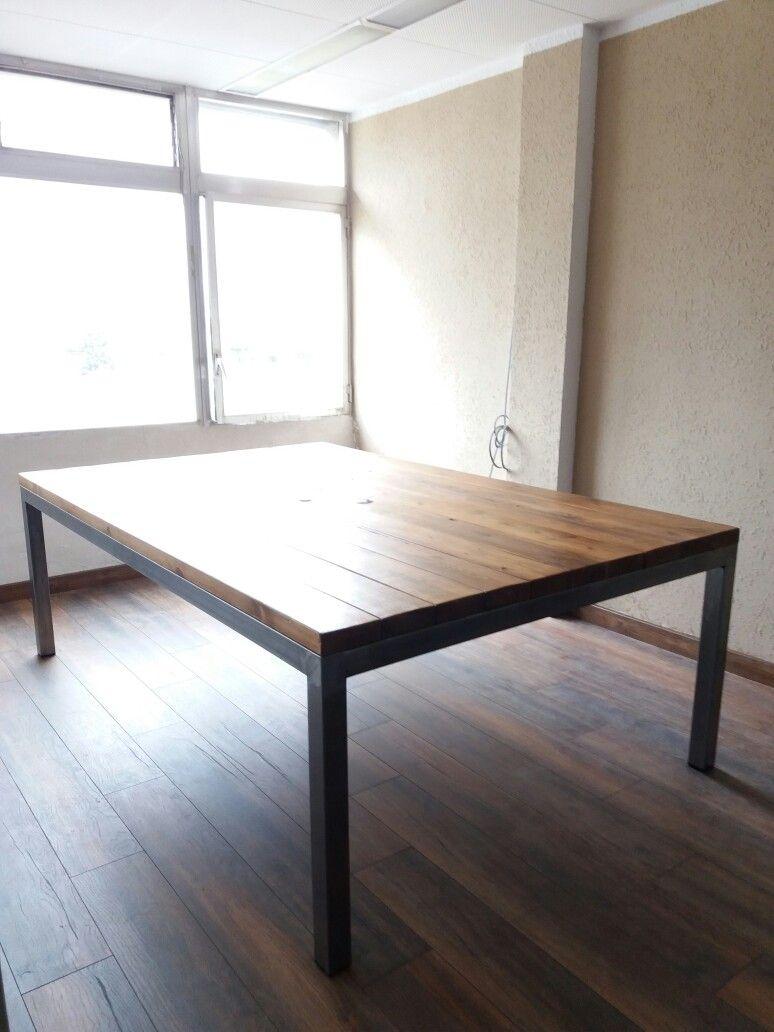 Urbanwood.es Mesa de madera reciclada con patas de hierro. | Office ...