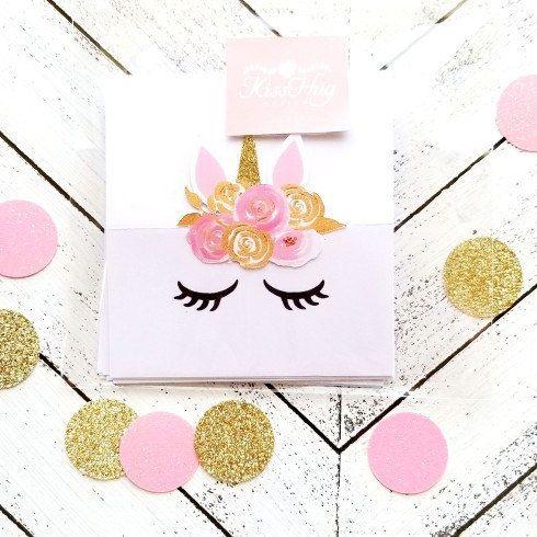 Pink and Gold Unicorn Place Cards, Dessert Table Decor, Unicorn ...