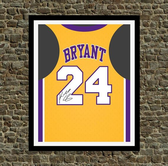 Kobe Bryant Signed Lakers Jersey Print Perfect By