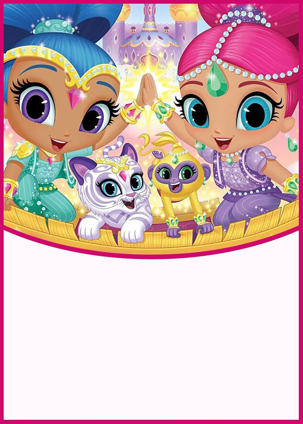 Shimmer And Shine Party Invitation Card 731x1024 Shimmer And Shine Characters Birthday Party Invitations Free Free Invitations