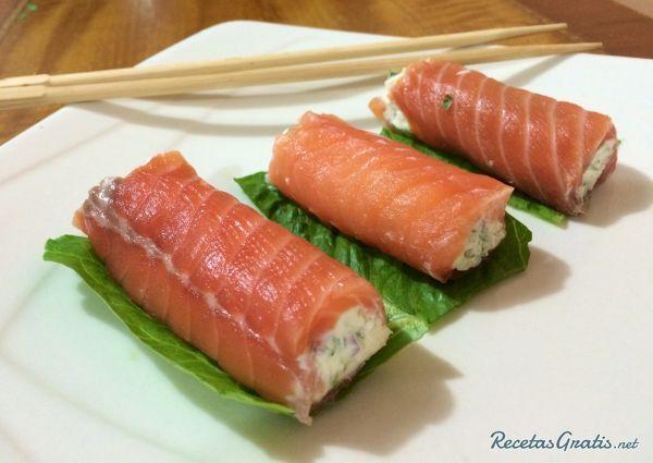 tapas de salmon ahumado y queso