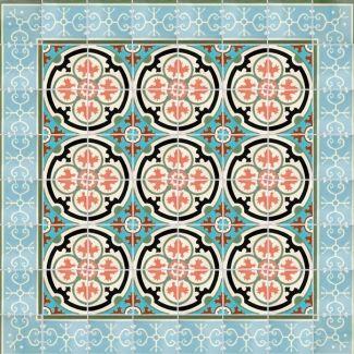 Tile for dining room floor. 8x8 Barcelona 4 Terra Nova Hand Painted Floor Tile