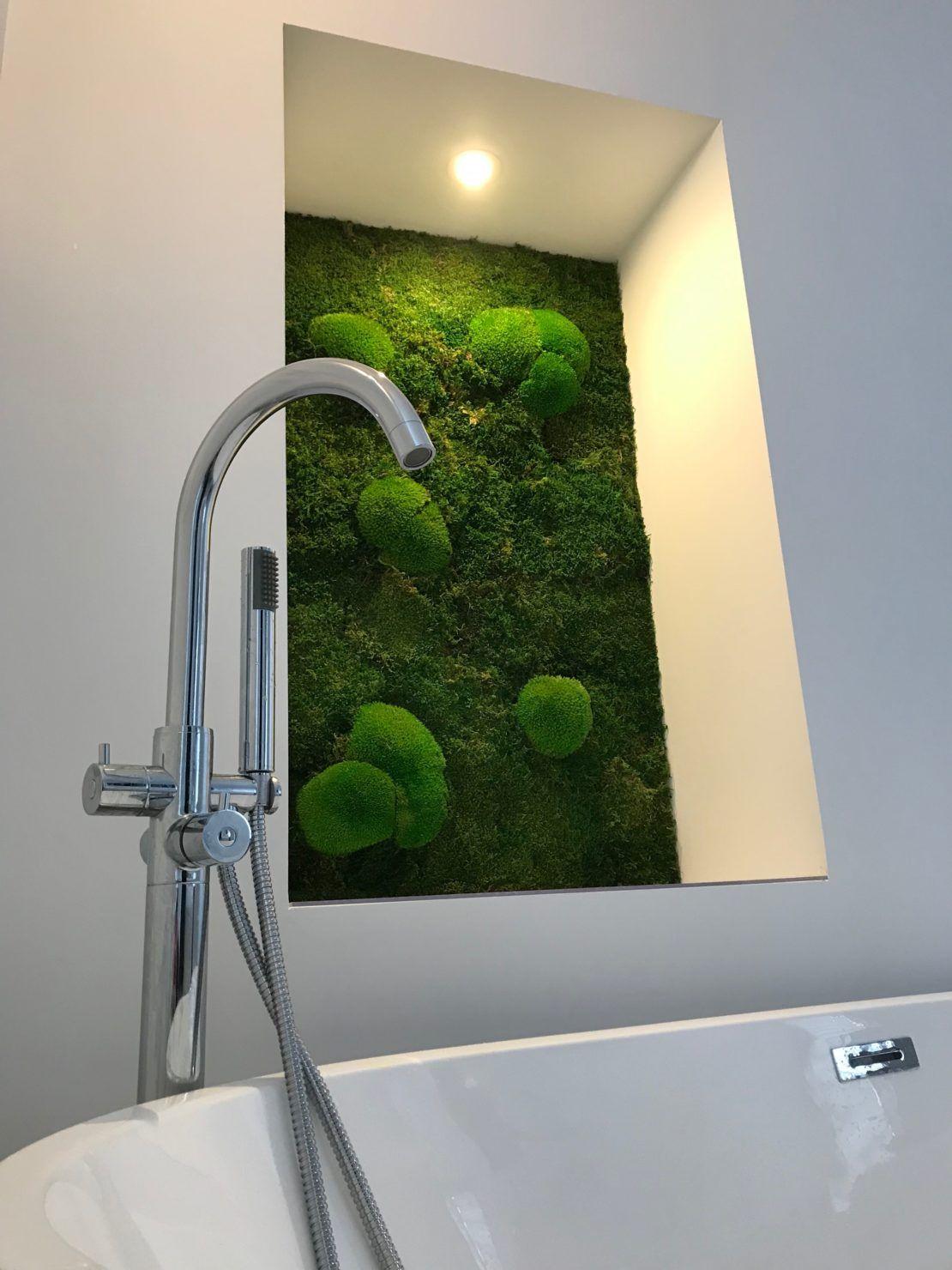 Mur végétal stabilisé salle de bain en 17  Paredes verdes