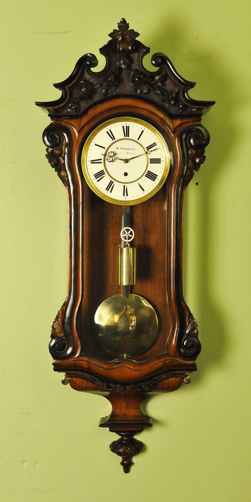 Small Vienna Regulator Wall Clock Schonberger Antique Wall