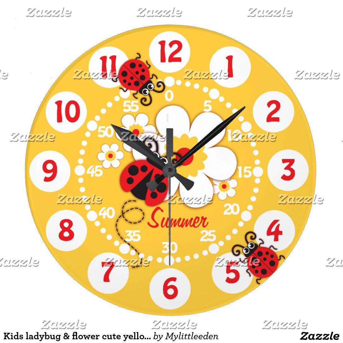 Kids ladybug flower cute yellow girls wall clock clock faces kids ladybug flower cute yellow girls wall clock amipublicfo Choice Image
